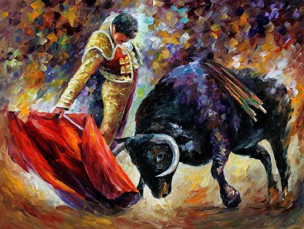 Dipinto a mano pittura a olio riproduzione corrida immagini su tela dipinto a mano 100% pittura a olio toro senza cornice Spagna paesaggio