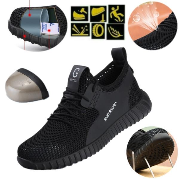 Calzado de seguridad Superficie de malla para hombre Gorro con punta de acero Deporte Trabajo al aire libre Pista de senderismo Zapatos transpirables Calzado de protección Zapatillas de deporte Botines