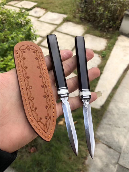 High Quality Damascus Pu'er Tea Knife Damascus Steel Blade Ebony Handle Fixed Blade Knives Collectable Gift Knife Leather Sheath