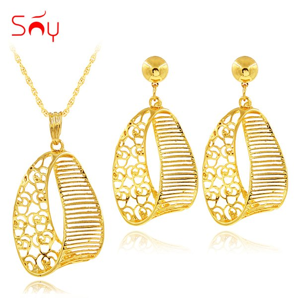 Sunny Jewelry Fashion Jewelry 2019 Set Necklace Earrings Pendant Exquisite Sets For Women Gift Hollow Out Fairy