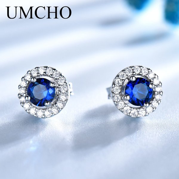 UMCHO Real 925 Sterling Silver Jewelry Round Rich Color Nano Sapphire Stud Earrings Gemstone Luxury Bride Gift For Women Y18110503