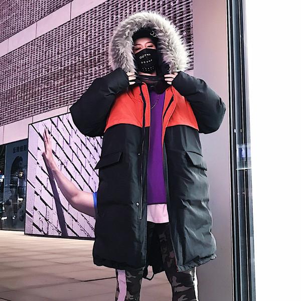 Размер США Hip Hop пальто 2019 Зимние куртки ветровки Мужчины Повседневная Толстые меховой воротник пальто Ветровка Streetwear Parka Мужской пиджак DG294