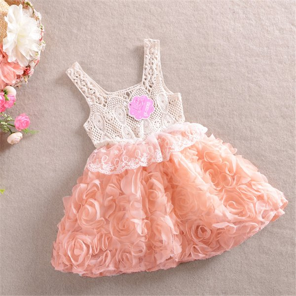 599ab510d 2 ~ 6 edades 2019 verano otoño moda rosa encaje floral sin mangas gasa  princesa fiesta niños ropa para niños vestido de niña