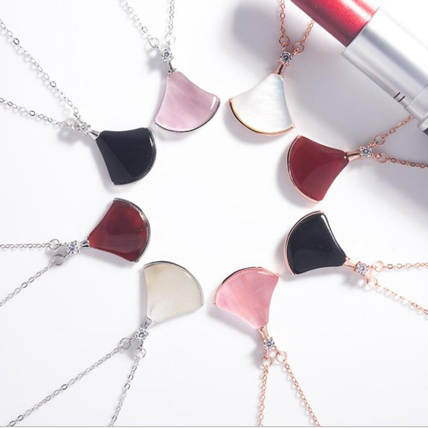 Solid 925 Sterling Silver Fan Shaped Pendant Necklace Black Agate Pink Opal Women Collarbone Necklaces Jewelry