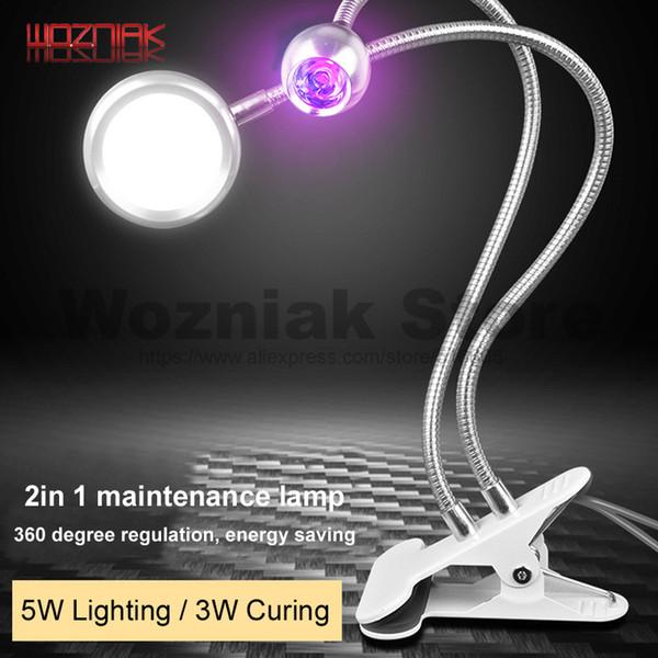 WOZNIAK 2IN1 Lampe de polymérisation de colle verte Lampe de colle de bureau UV liquide fixe de bureau BGA Maintenance de la lumière LED