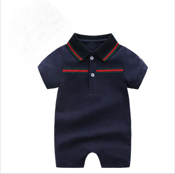 best selling In stock Autumn baby boys rompers designer kids lapel Short sleeve jumpsuits + hat infant girls letter embroidery cotton romper boy clothing