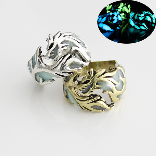 Fashion Glow in the Dark Rings Vintage Retro Mens Luminous Dragon shape finger Ring For male Punk Jewelry Gift