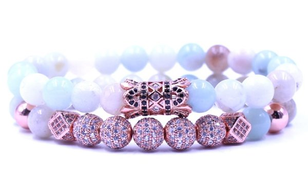 8mm 2PCS/Set rose gold elastic adjusted nature bead rtg23 micro pave cz zircon cubic zirconia tube Bracelet Jewelry