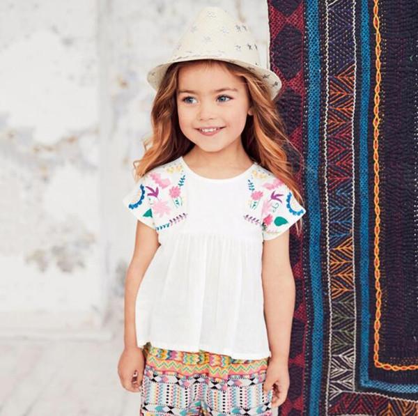 Ärmellose bluse baumwolle kleid baby t shirts mädchen t-shirt kinder kleidung klassischen stil baumwolle stickerei kid designer kleidung mädchen by0953
