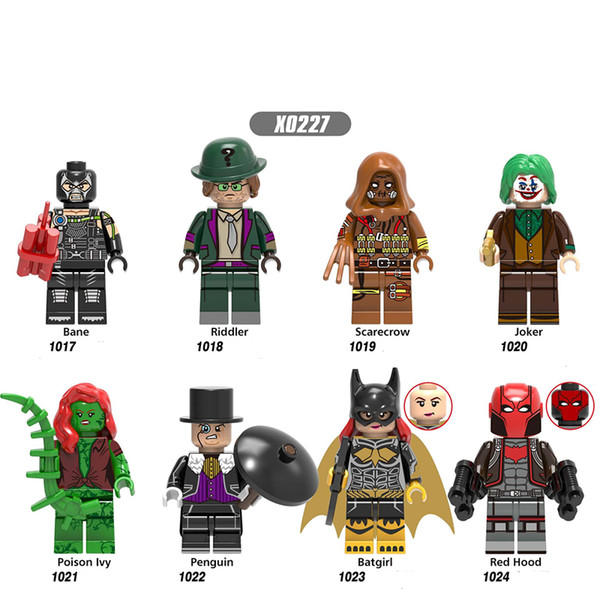 Hero Bane Riddler Figure Épouvantail Joker Poison Ivy Pingouin Batgirl Rouge Hood Kits Buidling Blocks Brique Jouets X0227