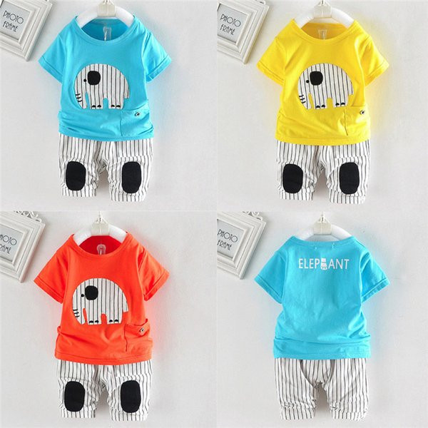 2PCS Baby Boy Sets Toddler Infant Baby Boy Short Sleeve Cartoon Elephant T-shirt Tops+Striped Pants Sets Baby Boy Clothes M8Y18