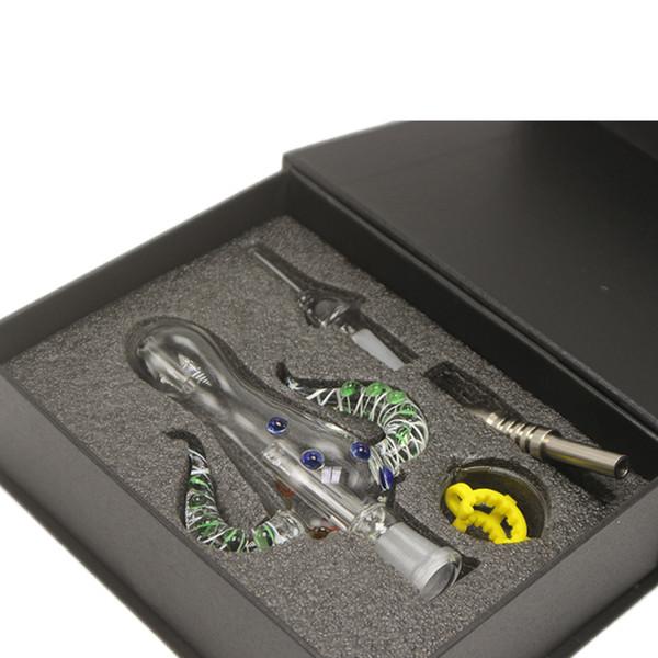 Nector Kits 5.0 mit 14mm Titanquarz-Titanium 2-Tipps Honey Straw Dab Rigs Glaswasser-Bongs