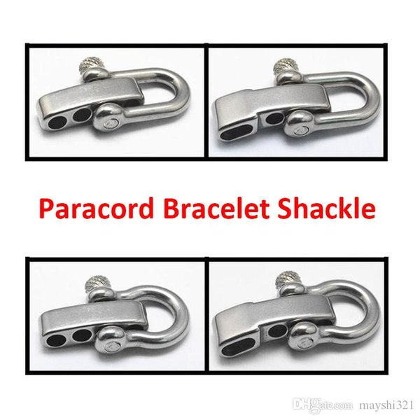 Camping Equipment Adjustable shackles 5mm 4 holes U shape bracelet 304 stainless steel paracord shackle with screw pin