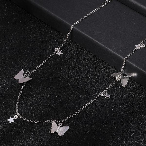 Silber Schmetterling Sterne Kette