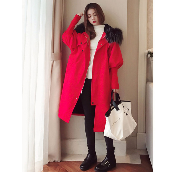 Love2019 Long Ins Overknee Jacket The Wind In Hong Kong Chic Hair Lead Work Cotton-padded Clothes Loose Coat