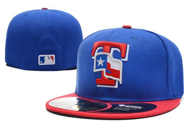 Atacado Top Quality Rangers Cor Azul No Campo Equipado Chapéus de Beisebol logotipo bordado T Carta EUA Bandeira Plana Completa Fechado Caps