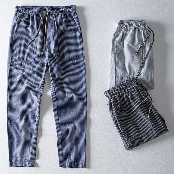 Moda Erkekler Ev Pantolon Günlük Nefes Pamuk Keten Harem Pantolon Erkek Sonbahar Yüksek Bel Uzun Pantolon İnce Gevşek Bottoms Yeni