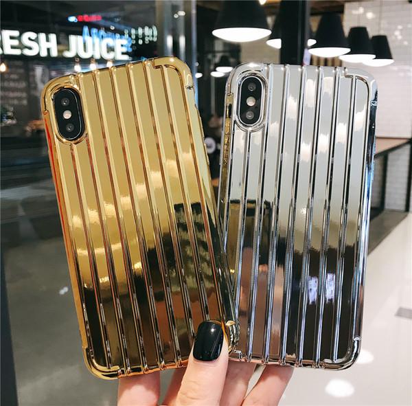 Custodia per telefono valigia con placcatura a strisce 3D per iPhone 6 6s 7 8 Plus Custodia in argento di lusso per iPhone X XR XS Max Fashion Cover posteriore