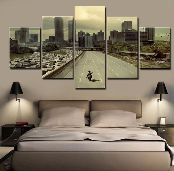 Imagens modulares HD Impresso Pintura Da Lona Quadro Casa Wall Art Photo Decor 5 Painéis Filme Paisagem Poster