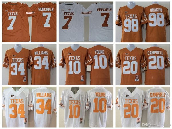 2017 Texas Longhorns 7 Shane Buechele College Football Jerseys 10 Vince Young 34 Ricky Williams 20 Earl Campbell 98 Brian Orakpo Colt McCoy