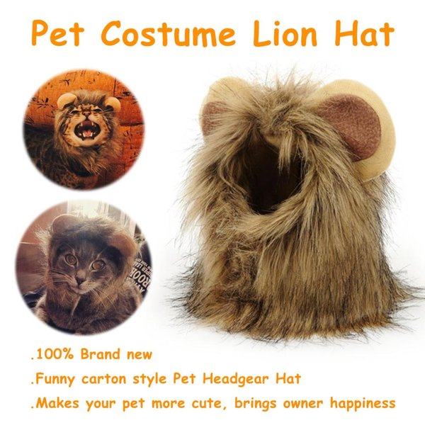 pet costume cosplay lion mane wig cap hat for cat halloween xmas clothes fancy dress with ears autumn winter