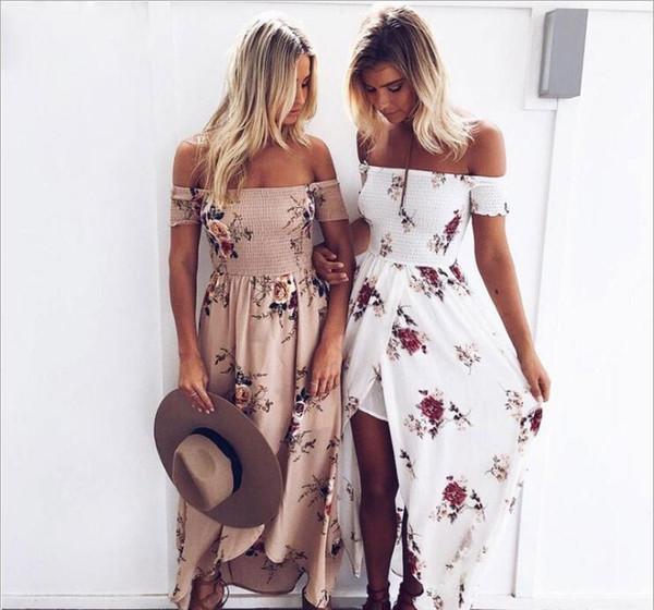 Plus Size Designer Boho Floral Print Long Dress Women Off Shoulder Beach  Summer Lady Dresses Chiffon White Maxi Dress Vestidos Summer Dress Boutique  ...