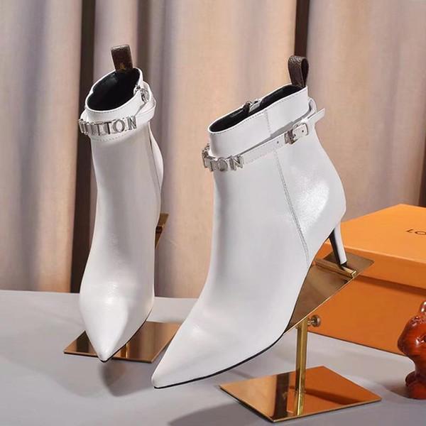 LouisVuittonMartin botas de tacón alto botas del tobillo mujeres del LV Zapatos de lujo del cuero de la plataforma gruesos botines L65 zapatos para mujer de moda Bo