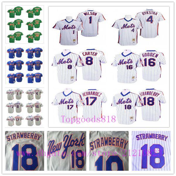 Jahrgang New York Dwight Gooden 17 Keith Hernandez 18 Darryl Strawberry Mets Jersey Mookie Wilson Dykstra Gary Carter Baseball-Trikots