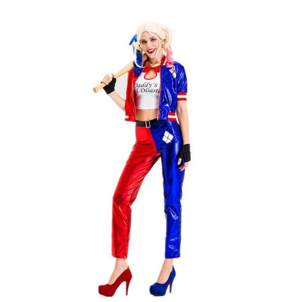 Designer Halloween Mulheres Roupa Clown Suit Cosplay Ternos Harley Quinn Trajes de alta qualidade Tamanho S-XXL Atacado