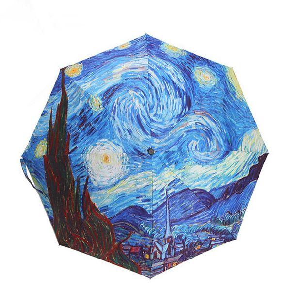 2018 New Van Gogh Oil Painting Arts Waterproof Rainproof Umbrella Ultraviolet-Proof Three Fold Automatic Umbrella