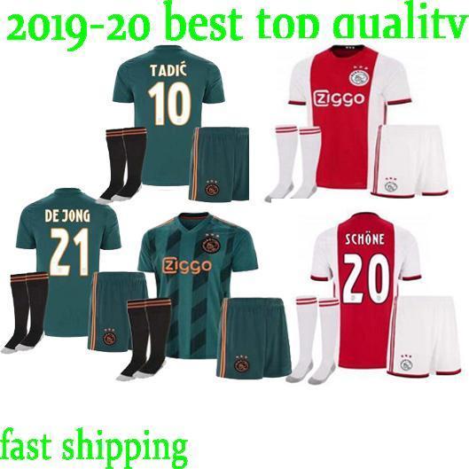 Acheter Nouveaux Maillots De Football 2019 2020 Ajax FC, Kits Pour Adultes 19 20 Personnalisés À La Maison # 7 NERES # 10 TADIC # 4 DE LIGT # 22