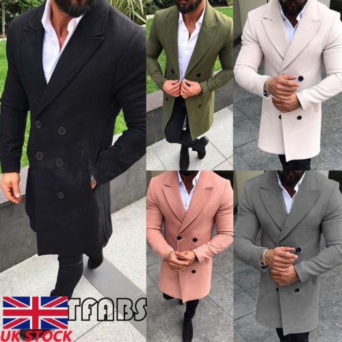 Novos Homens de Inverno de Lã Ocasional de Manga Longa Double Breasted Trench Coat Blusão Casaco Longo Casaco