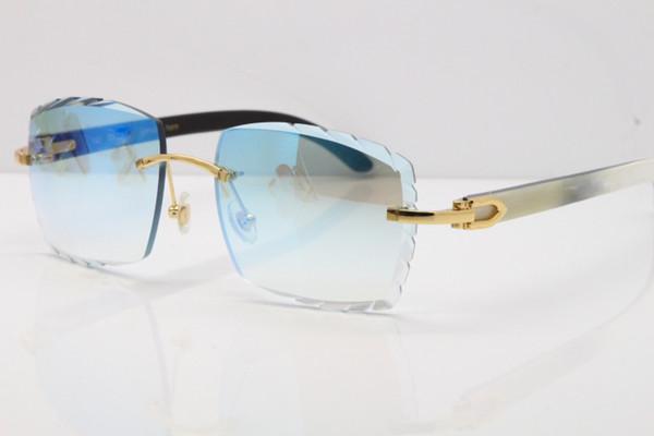 Envío gratis Hot Rimless gafas de sol de lujo tallado lente Adumbral 3524012 blanco dentro de cuerno negro gafas sin montura Nueva gafas Unisex mujer