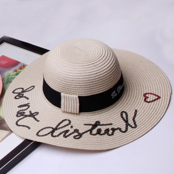 2018 Female Summer Beah Caps Do Not Disturb Letter Sequins Straw Hat Holiday Big Brim Beach Sun Hat Dome Flat Hat For Girls