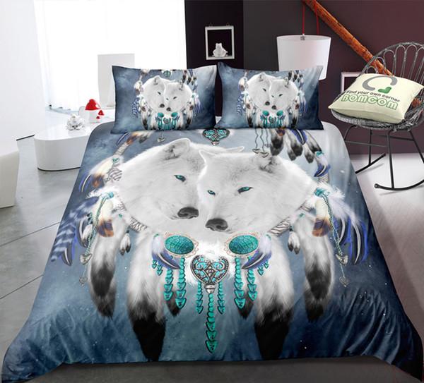 Белый Волк 3D Печатных Постельных Принадлежностей Одноместный Размер Tibral King Пододеяльник Queen Home Textile Одноместный Двуспальная Кровать С Наволочкой 3 шт.