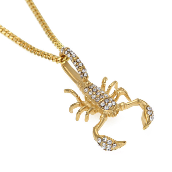 Cube Zircon Glitter Scorpion Gold Hop Homens LK Hip e jóia de prata pingente de presente