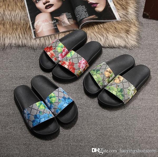 gucci slippers Männer Frauen Männer Frauen Sandalen Designer Schuhe Luxus Rutsche Sommermode Breit Flach Rutschig Mit Dicken Sandalen Slipper Flip Flop