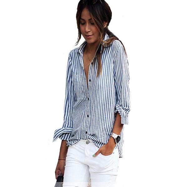 Blusas Mulheres Verão Mulheres Tops Casual Solto Listrado Vertical Camisa de Manga Longa Blusa Blusa Feminina Vestido Plus Size