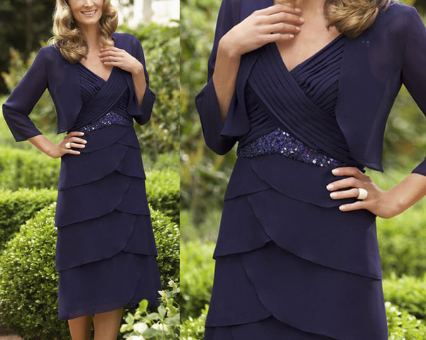 Navy Blue Mother Of Bride Dresses Sheath V Neck Pleats Knee Length Pleats With Jacket Party Cocktail Plus Size Formal Prom Dress Even Wear