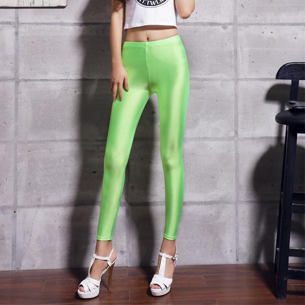 2019 new fashion personality Women's New Elastic Colour Gloss Slim Candy Fluorescent Pants Nine Score Underpants