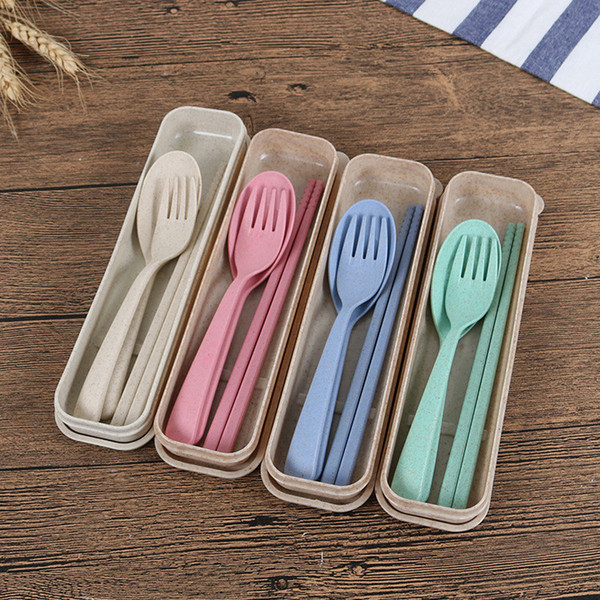 best selling Portable Plastic Tableware Plastic Spoon Fork Chopsticks Set New Design Eco-friendly 4 Colors Reusable Wheat Straw Plastic Cutlery