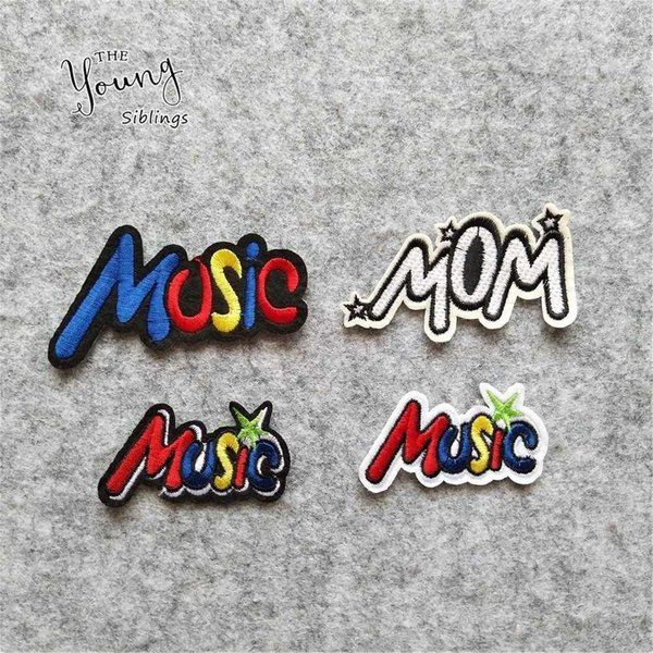 TESSUTO MUSIC ricamo patch fai-da-te Accessori abbigliamento ferro sul patch decorare Jeans bag Hat Applique Motif Stripes adesivi