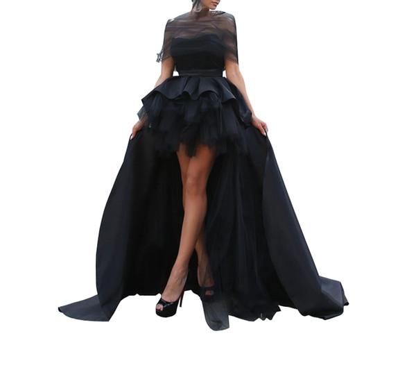 Charming Hi Low Prom Dresses Evening Formal Gowns Unique Neck Off shoulder Designer Tulle Ball Gown Ruched Satin Party Celebrity Dress