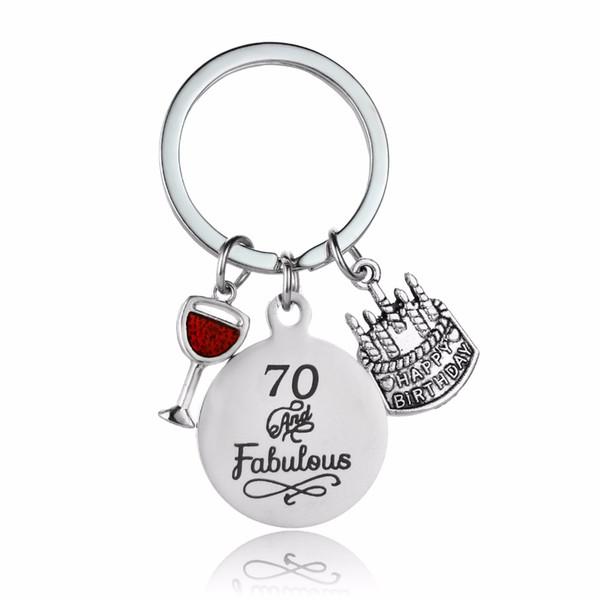Großhandel Trendy 70 Und Fabelhafte Becher Geburtstag Kuchen Charme Keychain Opa Oma Familie Geschenk Schlüsselanhänger Edelstahl Schlüsselanhänger