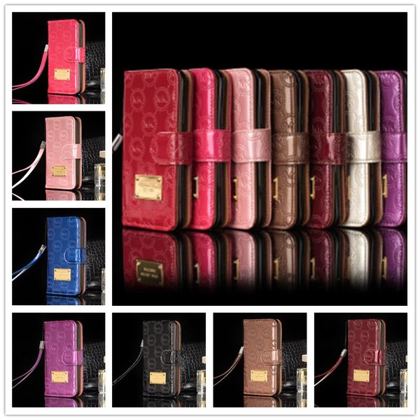Luxury Wallet Flip PU Leather Case for iphone x 7 8 6 6s plus Card Slot Cases with Lanyard Holder Cover Classic Letter Pattern Phone Case