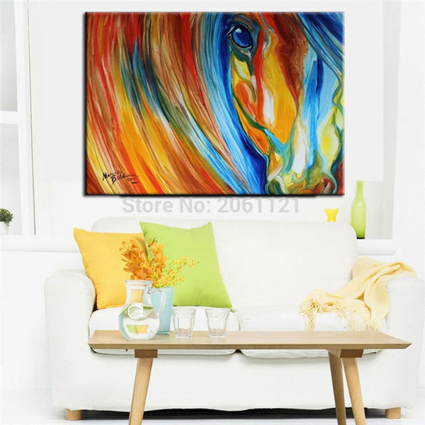 Hand Painted horse Canvas Wall Art orange blue Oil Painting colorful designed Modern Abstract animal Picture for Living Room