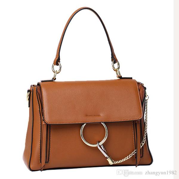 Bolso de piel de vaca de diseñador de la marca de fábrica de las mujeres bolso de la manera FAYE Lides del anillo Bolso de cadena de oro Bolso de hombro Bolso de cuero genuino de calidad superior