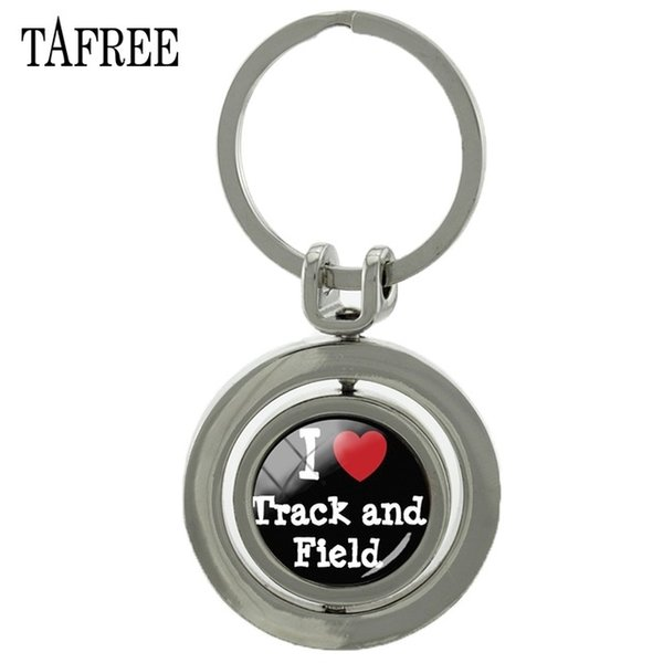 PEACE LOVE TRACK AND FIELD Revolving Pendant Keychain New Arrival Marvel Metal Key Chain Rotating Key Rings Jewelry SP170