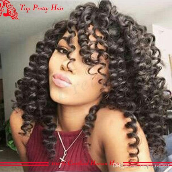 Brazilian Kinky Curly Lace Front Wig Human Hair Glueless For African American Women Pre Plucked Kinky Curly Cheap Full Lace Wig Virgin Hair