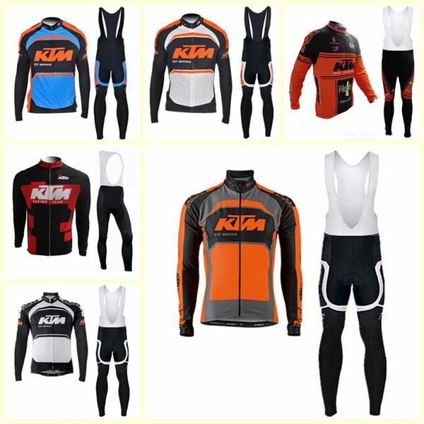 KTM team Cycling long Sleeves jersey bib pants sets Spring and autumn Breathable Cycling Mens Cycling Clothing U120903